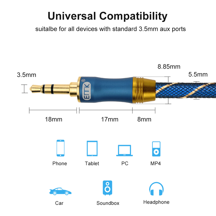 AUX Cable EMK Aux Cord [Copper Shell, Hi-Fi Sound] 3.5mm Audio Cable Headphone Cable Auxiliary Cable for Car Home Stereo, iPhone, iPod, iPad, Echo Dot, Sony, Beats (4)