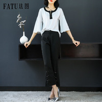 FATU 2 Piece New Women Spring OL Uniform Designs Elegant 2018 Business Work Wear Casual tops with Straight pants Trousers Sets