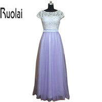 Real Sample 2016 Lavender Tulle Lace Short Sleeves A Line Floor Length Formal Long Bridesmaid Dresses Custom Made