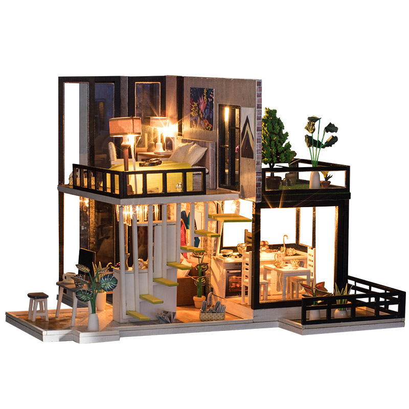 DIY Doll House Miniature Dollhouse With Furnitures Wooden House Miniaturas Toys For Children New Year Christmas