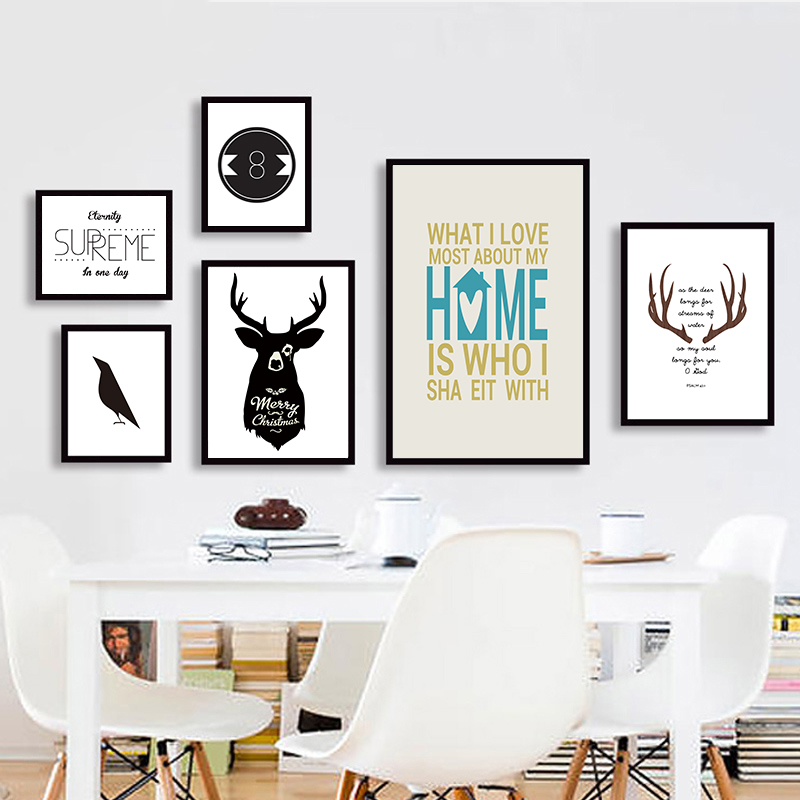 silhouette of deer head with pine forest Canvas Art Print Painting Poster Wall Picture for Home Decoration Home Decor