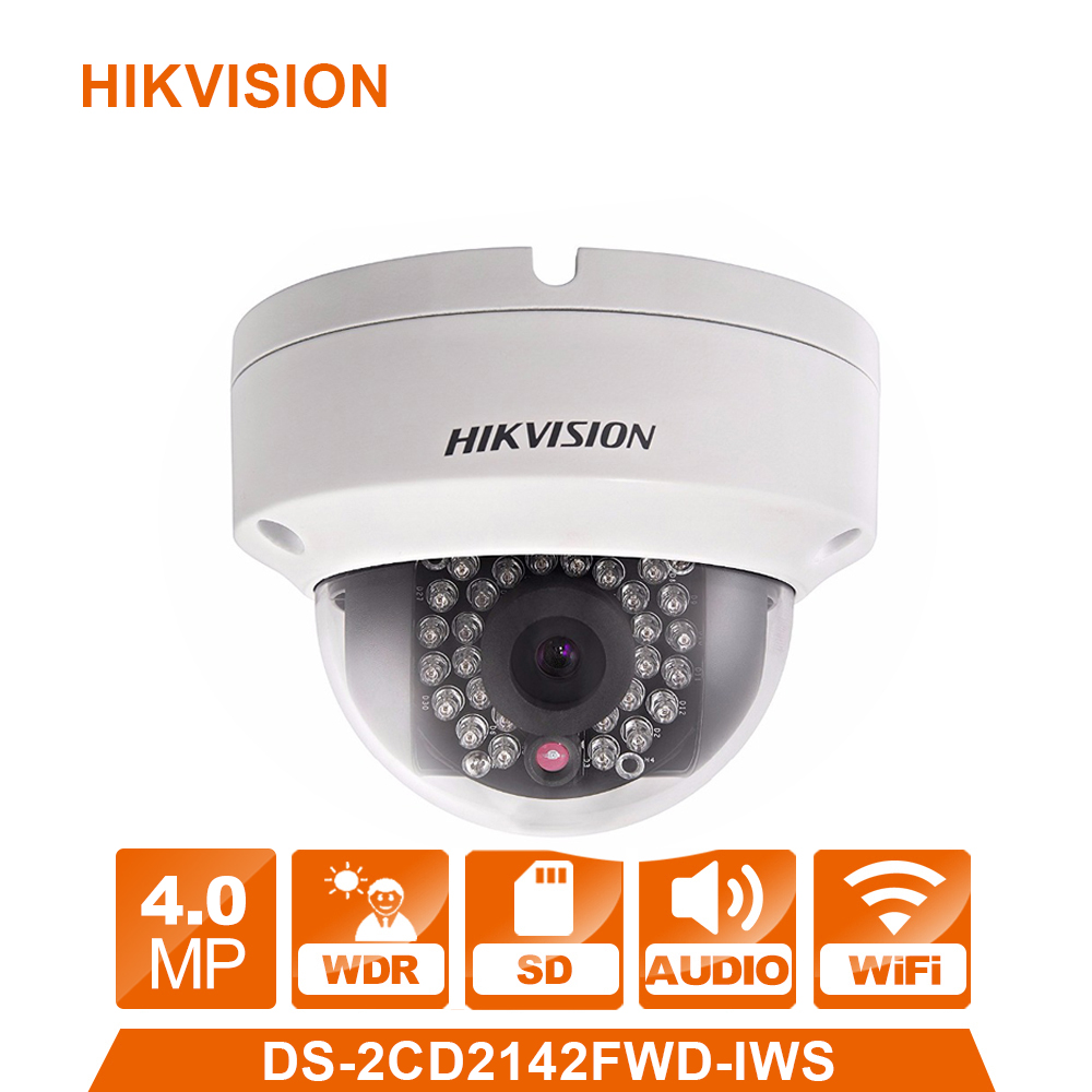 Wireless IP Camera Hikvision DS-2CD2142FWD-IWS 4mm 4MP WDR PoE Dome Cam security camera wifi monitor English Version upgradable dhl free shipping in stock new arrival english version ds 2cd2142fwd iws 4mp wdr fixed dome with wifi network camera