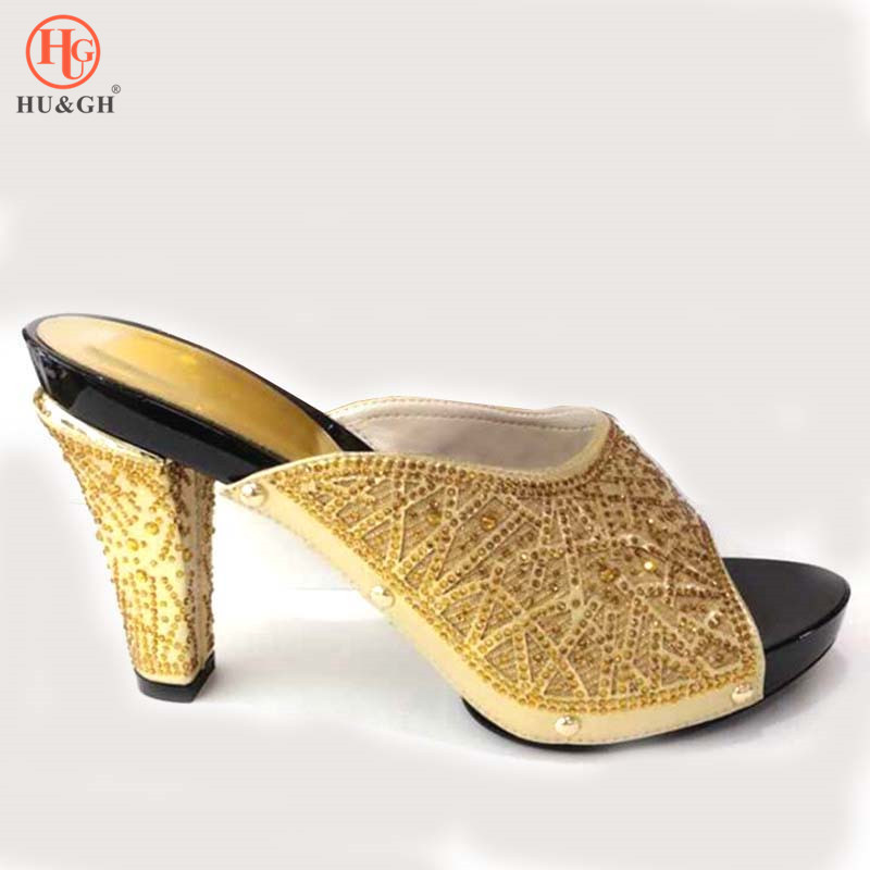 New Arrival African Lady Slippers 2019 Summer High Heels Women Shoes High Quality African Sandals Pumps