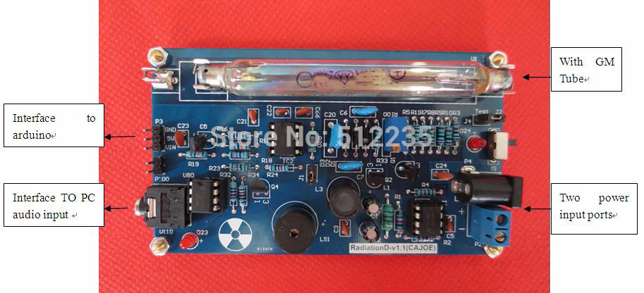Free shipping Newer Upgrade Assembled DIY Geige Geiger Counter Kit Nuclear Radiation Detector GM Tube connector