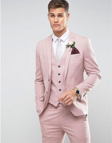 Alfaiate feito rosa ternos de casamento dos homens ajuste fino noivo festa de formatura blazer masculino smoking jaqueta + calças colete traje casamento homme terno - 2