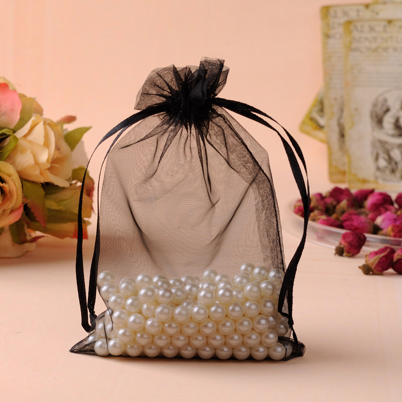 Organza Bags 20x30cm Black Custom Jewelry Bags 50pcs/Lot Large Drawstring Gift Bags Pouches For Wedding Favors Can Custom Logo