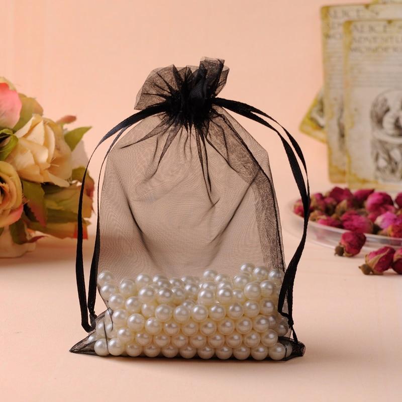 Organza Bags 20x30cm Black Custom Jewelry Bags 50pcsLot