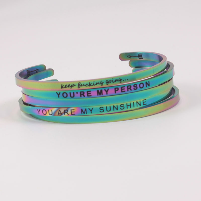 Rainbow quot YOU ARE MY PERSON quot Stainless steel C Shape Mantra Bracelet open cuff inspiration Bangle Carving Meaningful words in Bangles from Jewelry amp Accessories