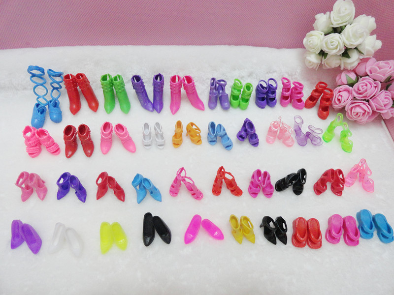 40Pairs/Pack Modern Doll Sneakers Present Pack Excessive Heels Sandals For Barbie Dolls Free Transport Doll Equipment Woman Good Present