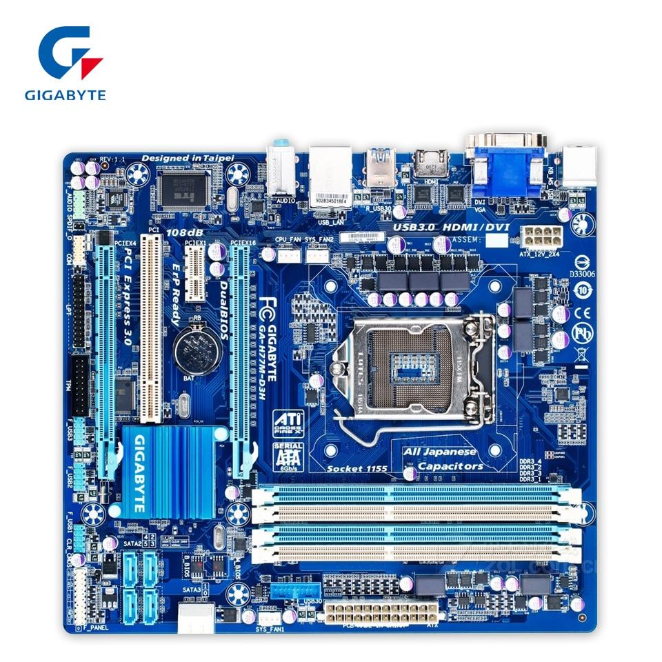 Gigabyte GA-H77M-D3H Original Used Desktop Motherboard H77M-D3H H77 LGA 1155 i3 i5 i7 DDR3 32G SATA3 Micro-ATX