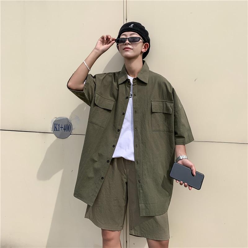 2019 Summer Men's Student Leisure Lovers Black/green/Beige Color Mens Sets Loose Tracksuit Short Sleeve Shirt+Shorts Suit M-2XL