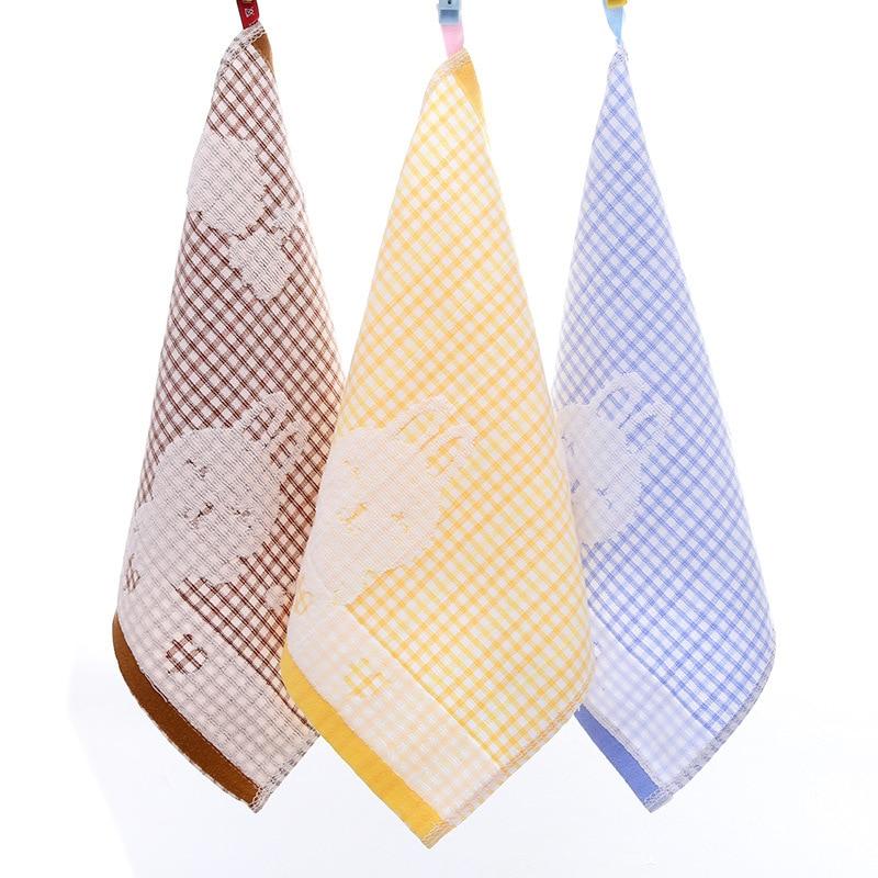 Square 33cm Small Lattice Jacquard Kindergarten Children Saliva Towel Cotton Gauze Hand Towel Cartoon Small Towel Bath Washcloth