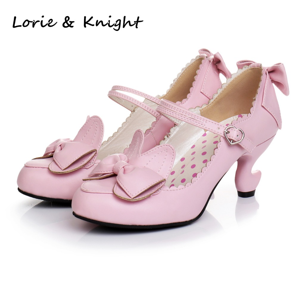 Japanese Cute Rabbit Ear Fantasy Heels Mary Jane Shoes Lolita Cosplay High Heel Pumps все цены
