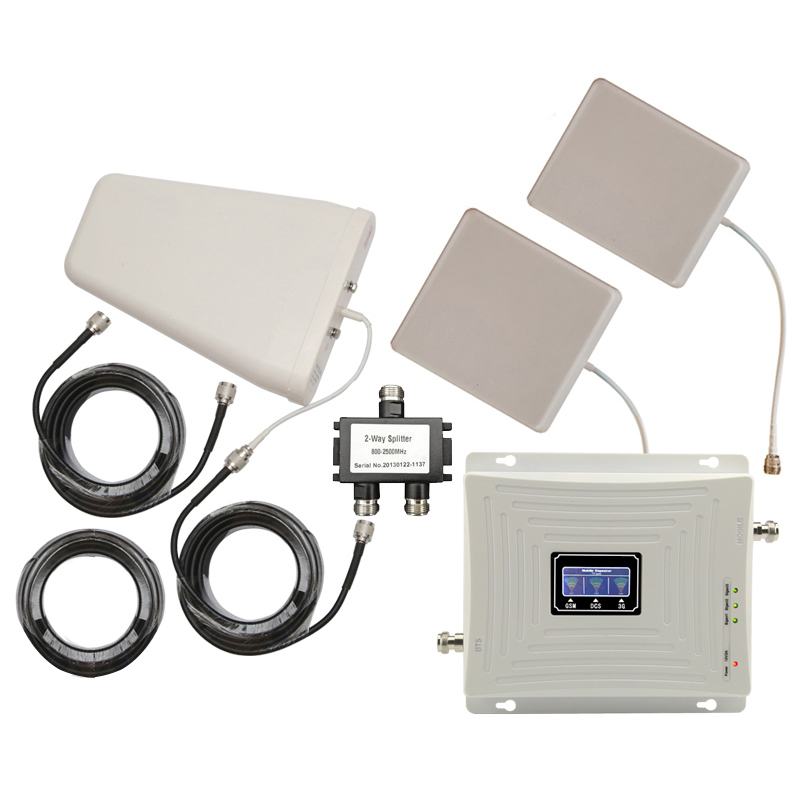 For 2 Rooms GSM DCS LTE WCDMA 900 1800 2100 Tri-band Mobile Phone Signal Repeater 70dB 2G 3G 4G LTE Signal Booster Antena Set