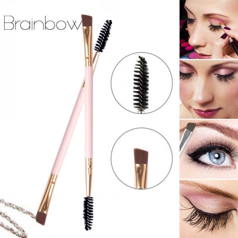 Brainbow 1PC/2PC Doppel Kopf Augenbrauen Pinsel Augenbrauen Kamm Schönheit Professionelle Abgewinkelt Slanted Make-Up Pinsel für auge Stirn Eyelahes