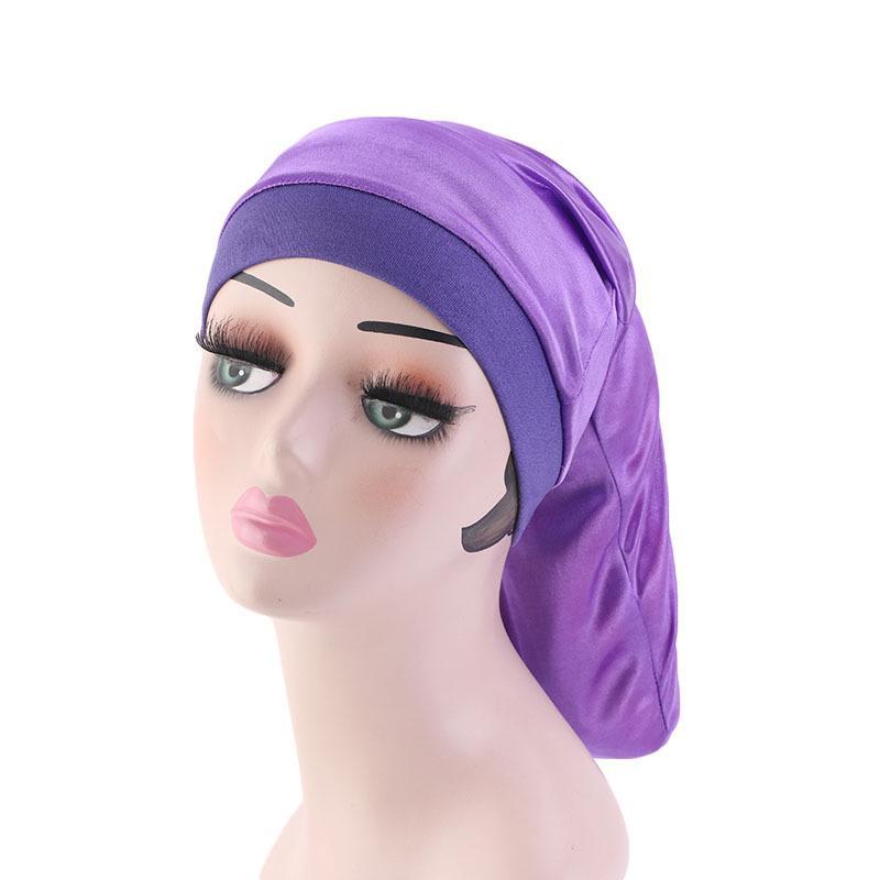 Image 4 - Women Wide Elastic Band Satin Bonnet Turban Braid Baggy Cap Hair  Care Chemo Hat Muslim Bonnet Islamic Beanies Skullies FashionWomens  Skullies