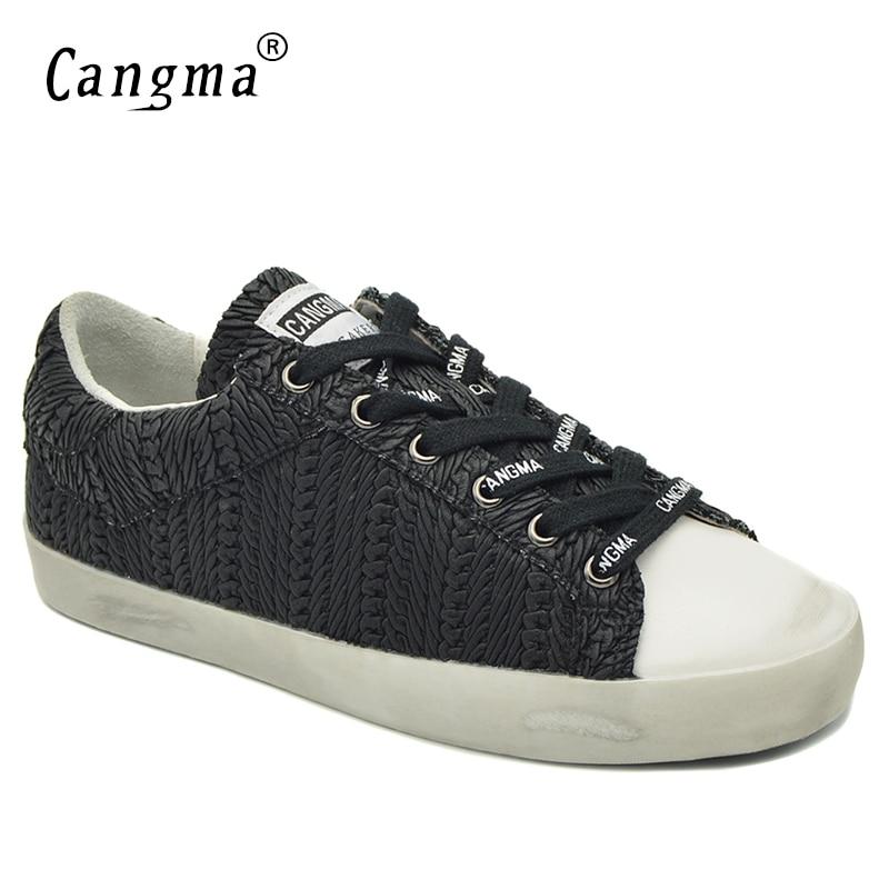 Cuero Sneakers Confort Auténtico Calzado Famale Plana Mujeres no Mujer Mano Hecha Negro Señoras Retro Otoño Cangma Retro Raya Zapatos Original A vWq7P1F5