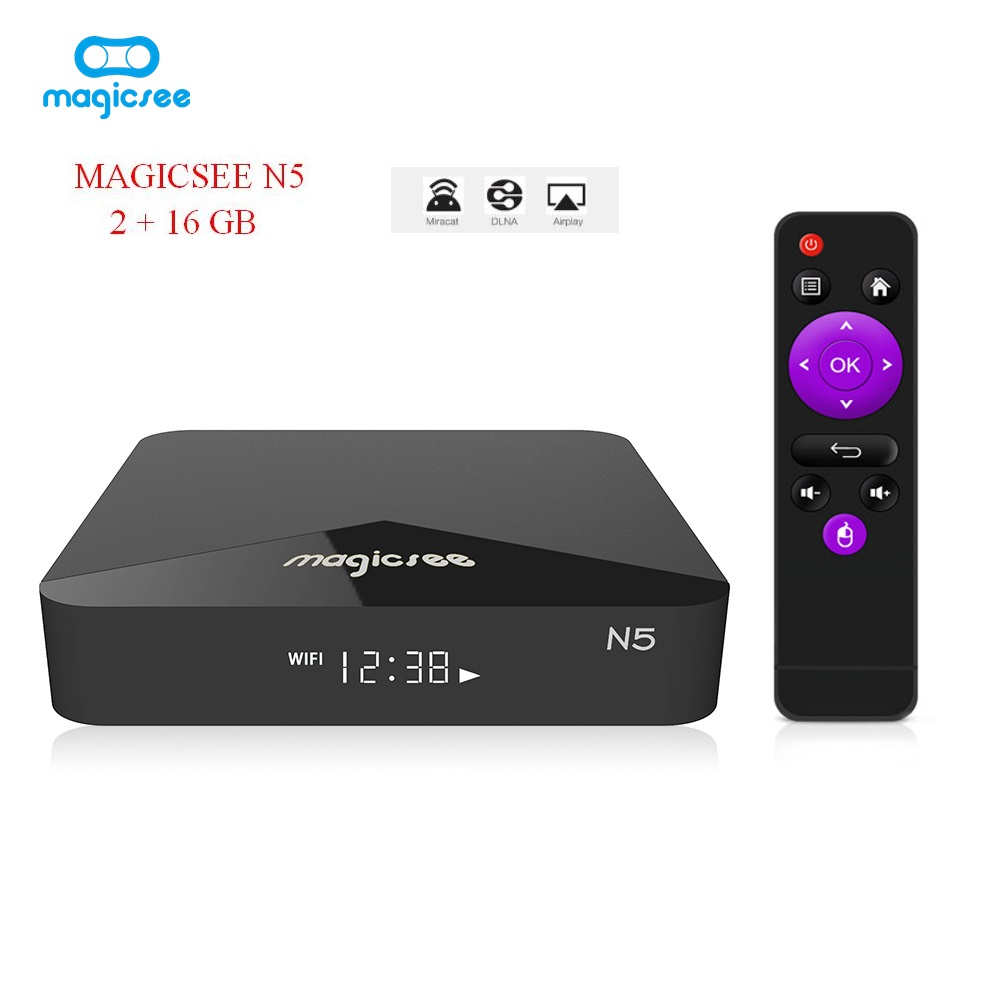 MAGICSEE N5 Android TV OS TV Box Amlogic S905X Android 7.1.2 2GB RAM + 16GB ROM 2.4G + 5G WiFi 100Mbps BT4.1 Support 4K H.265 android tv box smart mini projector dlp portable projectors amlogic s905x 2gb 16gb 1g 8g bluetooth 2 4g 5g ac wifi 4k h 265 dhl
