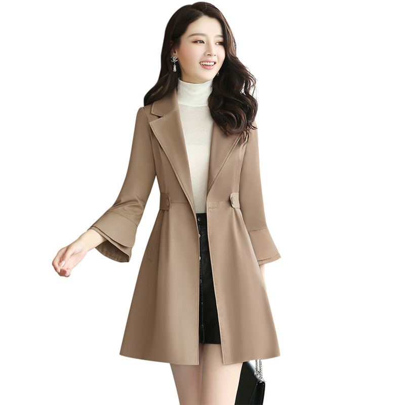 2018 Autumn New Fashion Women Lapel High Waist   Trench   Outwear Single Breasted Slim Elegnt Female Flare Sleeve Big Size Coat O693