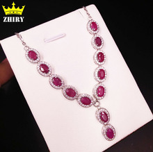 100% Natural Ruby Gem Necklace Woman Precious Stone pendant Solid 925 sterling silver lady's fine jewelry