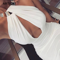 Articat Hollow Out Party Bodycon Bandage Dress Women 2017 Off Shoulder Choker Long Pencil Dress Sexy