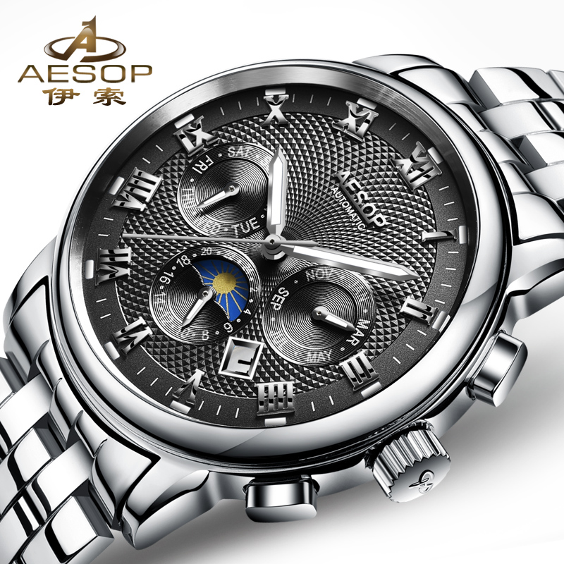 Aesop Mens Watches Moon Phase Top Brand Luxury Automatic Mechanical Watch Men Casual Steel Date Waterproof Sport Watch Relogio стоимость
