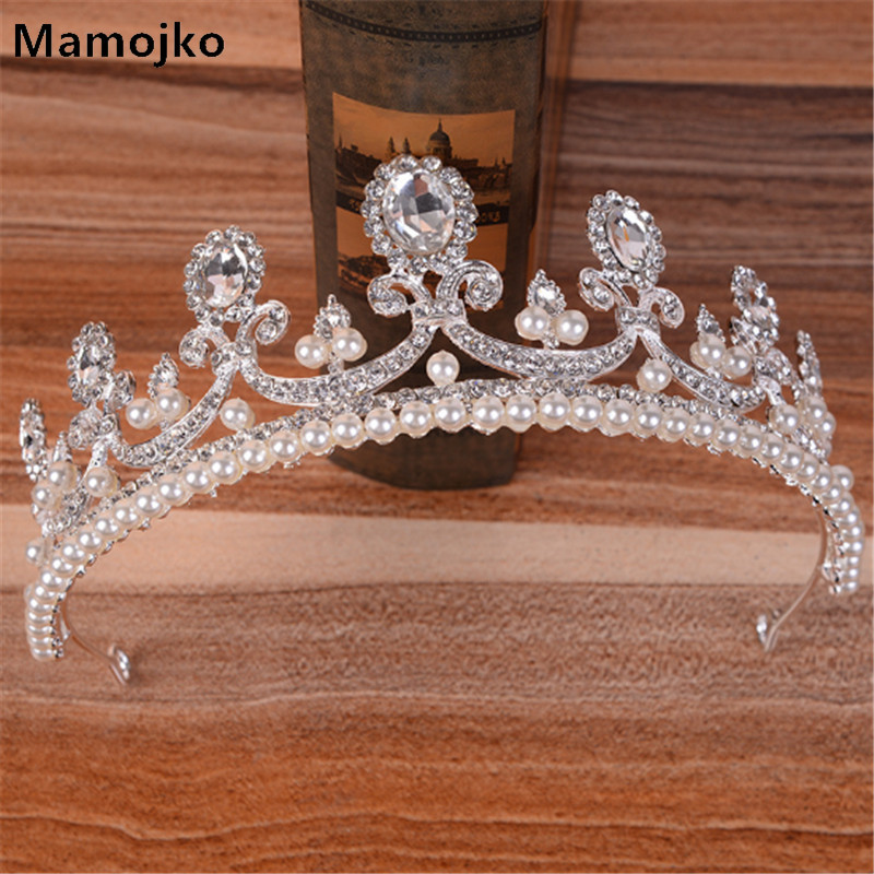 Mamojko Simple Big Crystal Queen Crown For Woman Wedding Fashion Dress Accessories Charms Tiara For Bride Hair Ornament Jewelry