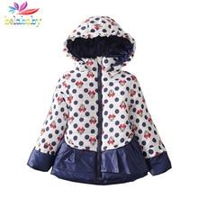 Belababy Girls Coat Winter 2017 Children Polka Dot Hooded Jacket Outerwear Kids Girls Thick Warm Cartoon