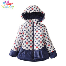 Belababy Girls Winter Coat 2016 Children Polka Dot Hooded Jacket Outerwear Kids Girls Warm Cartoon Clothing Down & Parkas QY-612