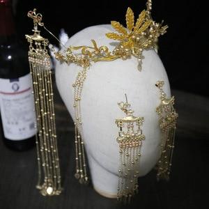 Image 2 - 花嫁新スタイル古代衣装帽子中国のフェニックスクラウン宮殿レトロ房の耳セット