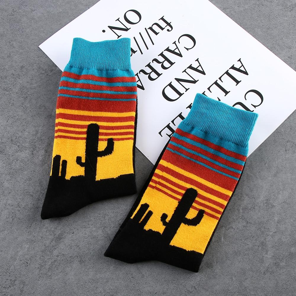 Fashion Unisex Happy Soft Socks Men Cotton Art Abstraction Funny Pattern Socks