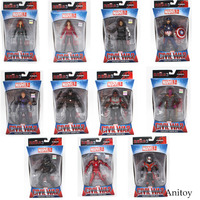 Marvel Avengers Iron Man Black Panther Hawkeye Captain America Black Widow PVC Action Figure Collectible Model
