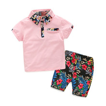 KLV 1Set Summer Children Baby Boys T-shirts Tops+Floral Pants Outfits Clothes