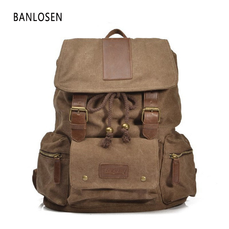 High Quality Vintage Backpack Men Women Casual Backpack Men Canvas School Backpacks For Teenager Men's Travel Bags YS1337 2017 small vintage navy blue deinm backpack with cover high quality women daily backpacks for travel 2colors casual jeans bag