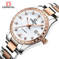 CARNIVAL 2018 Genuine fashion business female waterproof Watch Women automatic mechanical Watch self wind sapphire watch ladies