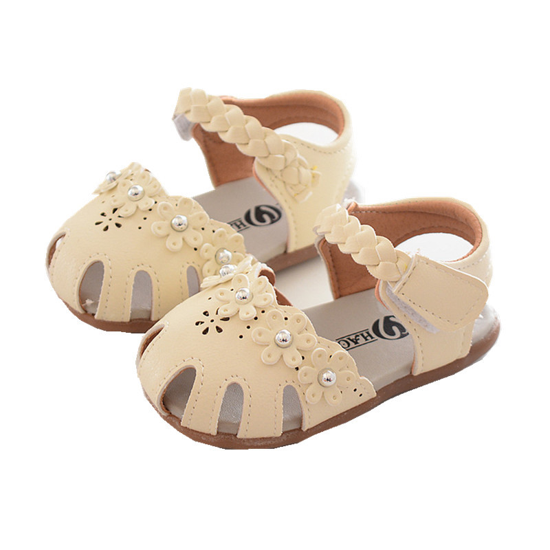Cute Baby Girls Sandals Summer Infant Flower Princess Shoes Squeaky Sandals