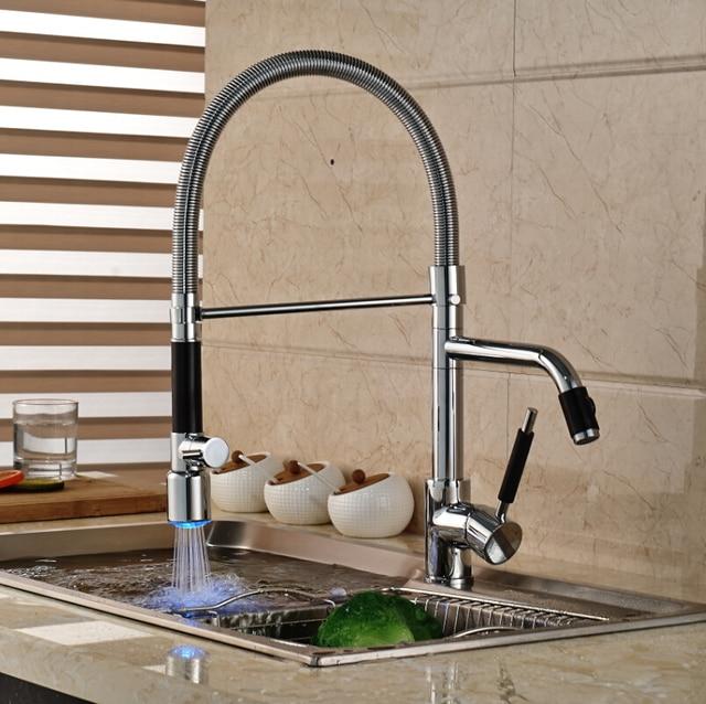 Deck Mount Single Handle LED Pull Down Kitchen Faucet Double Spout ...