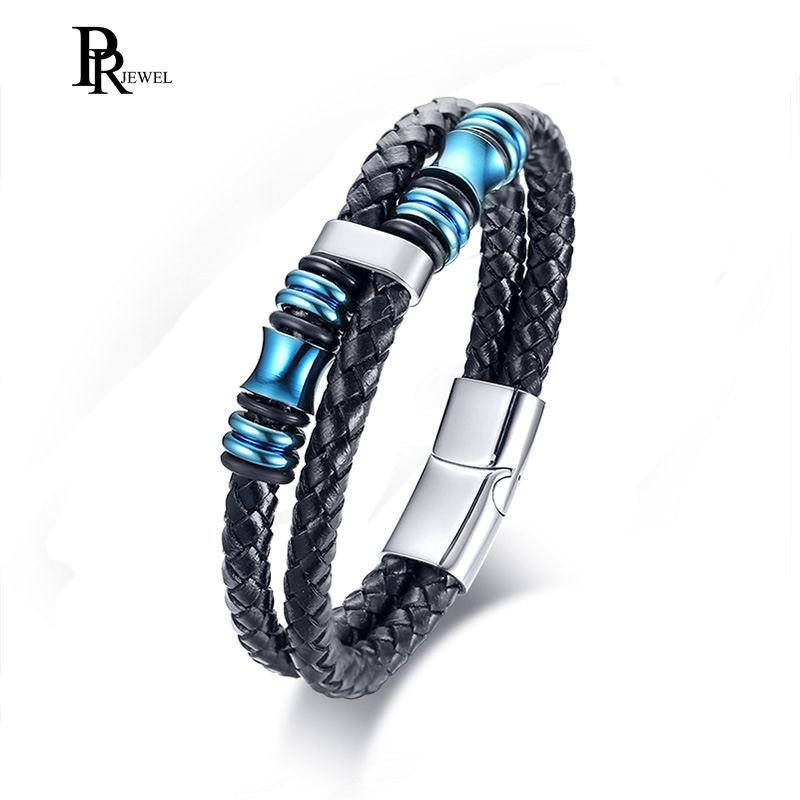 Stylish Double Layers Braided Black Genuine Leather Bracelet with Stainless Steel Charms Braslet Brackelts Male Jewelry 8.26