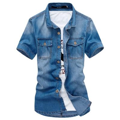 bf8f5496abeb 2018 2018 neue Hohe Qualität Kurzarm Denim Shirt Stern Mode Dünne Männer  Casual Shirt Herren Jeans Shirts 5z in 2018 2018 neue Hohe Qualität Kurzarm  Denim ...