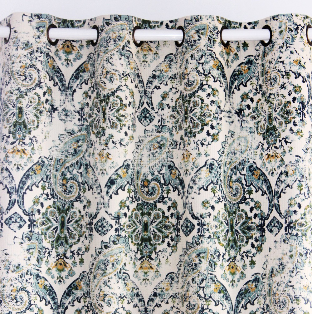 VEZO HOME Printed Paisley Vintage Cotton Linen Window Ready Curtains Panel Living Room Finished