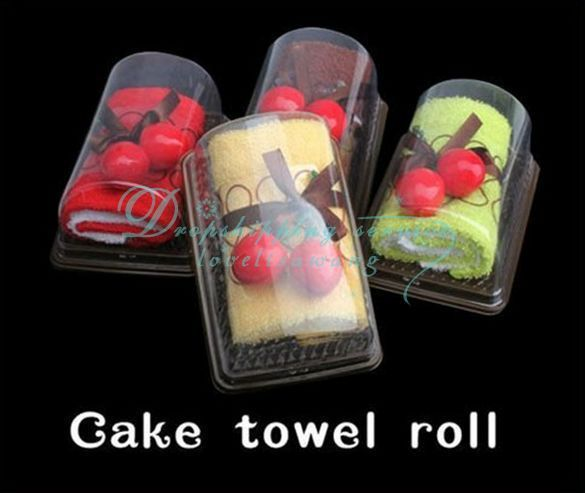 Wholesale Cake Towel Swiss Roll Cute Cotton With Cherry Top Decor Party Wedding Gift