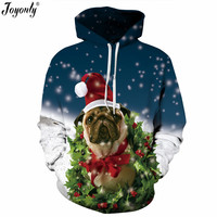 Joyonly 2018 Winter Christmas Hoodies Women Men 3D Sweatshirts Pug Snow Tree Hat Deer Cat Dog