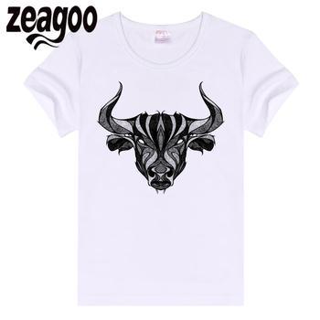 zeagoo Basic Casual Women Plain Crew Neck Slim Fit Soft Short Sleeve T-Shirt White Bull Head