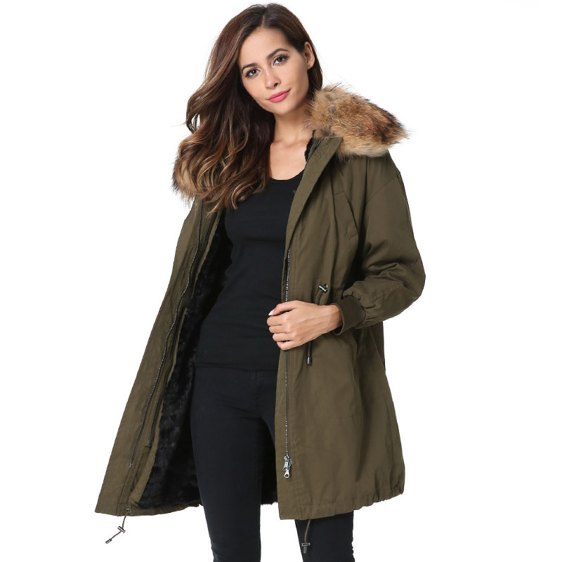 New 2017 Jott Jacket Winter Women Parka Long Coat Large Real Raccoon Fur Collar Faux Rabbit Fur Liner Army Green Casual Outwear printed long raccoon fur collar coat women winter real rabbit fur liner hooded jacket women bomber parka female ladies fp896