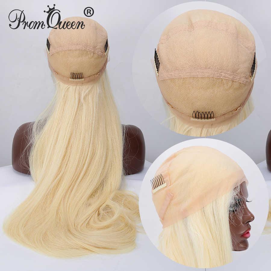 8-40 Polegada 42 Polegada cabelo longo peruca cheia do laço perucas de cabelo humano peruca reta brasileira #613 cabelo loiro pré plucke glueless para a mulher