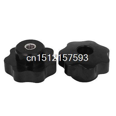 2 Pcs M8 Female Thread Nuts 50mm Plastic Star Head Clamping Knob Grip Black