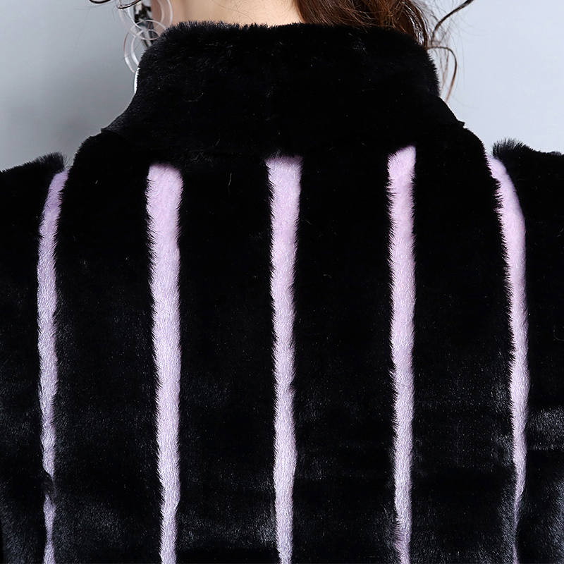 Nerazzurri Winter Long Faux Fur Coat Women Black and Purple Contrast Color Striped Patchwork Plus Size Fake Fur Overcoat 5XL 6XL in Faux Fur from Women 39 s Clothing