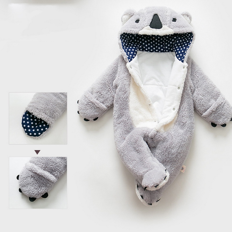 Image 4 - Loozykit Infant Romper Baby Boys Girls Jumpsuit Newborn Clothing Hooded Toddler Baby Clothes Cute Koala Romper Baby Costumes-in Rompers from Mother & Kids