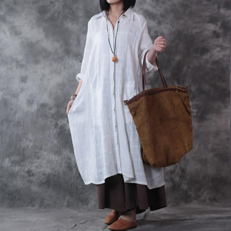 2018 ZANZEA Women Long Sleeve Pockets Cotton Linen Lapel Neck Buttons Down Solid Vintage Long Shirt Dress Vestido Plus Size