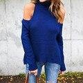 С Плеча Свитер 2016 Женщин Свитера Sexy Водолазка Вязаные Свитера твердые Длинным Рукавом Осень Зима Пуловеры Новую Моду